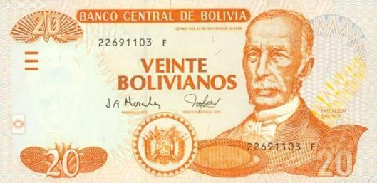 Купюра в 20 боливиано. Лицевая сторона