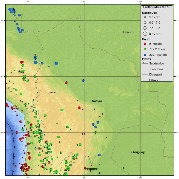 Seismicity Map of Bolivia - 1900 to March 2012: earthquake.usgs.gov